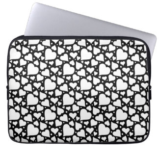 Valentine's Day Hearts Pattern. Custom BG Colour! Laptop Sleeve