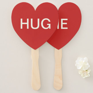 VALENTINE'S DAY HUG ME RED HEART SHAPED PADDLE FAN
