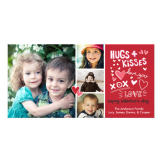 Valentine's Day Hugs and Kisses Love You Photo Card