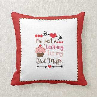 Valentine's Day Humor Cupcake Stud Muffin Throw Pillow