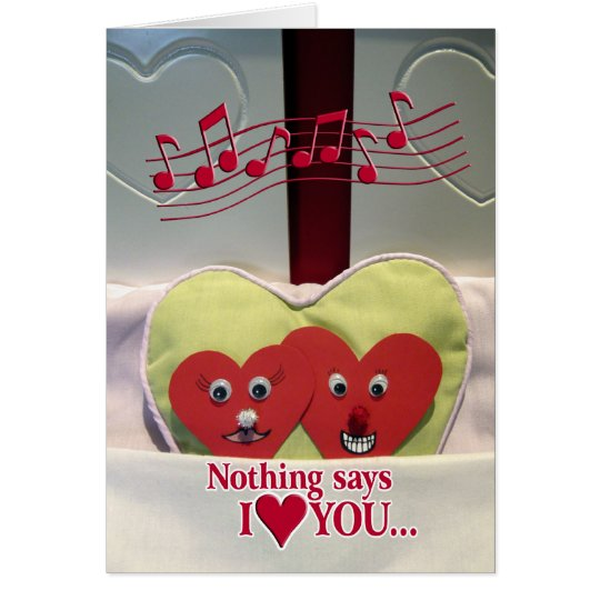 Valentine's Day Humour - Two Hearts in Bed Card
