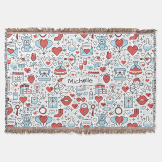 Valentine's Day Icons custom name throw blanket