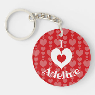 Valentine's Day Key Chain Red with Pink Hearts