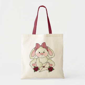 Valentine's day letter bunny tote budget tote bag