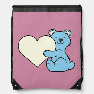 Valentine's Day Light Blue Bear with Cream Heart Drawstring Backpacks