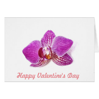 Valentine's Day Lilac Orchid floral watercolor art Card