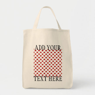 Valentine's Day Love Cute Red Hearts Pattern Grocery Tote Bag