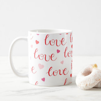 Valentine's Day Love Hearts Red Pink Pattern Coffee Mug