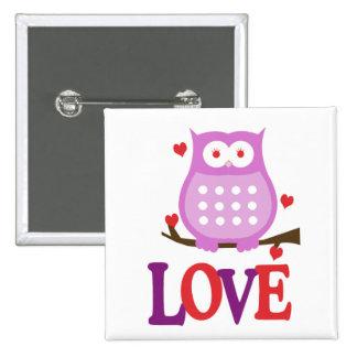 Valentine's Day LOVE Owl Button