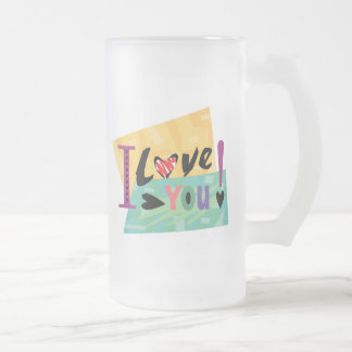 Valentine's Day Love You 16 Oz Frosted Glass Beer Mug