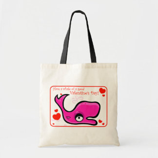 Valentine's Day Lovey Dovey Whale Illustration Budget Tote Bag