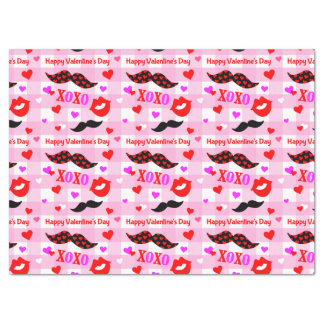 Valentine's Day Mustaches Love and Kisses Tissue Paper