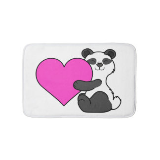 Valentine's Day Panda Bear with Pink Heart Bathroom Mat