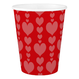Valentine's Day Paper Cups Red and Pink Hearts