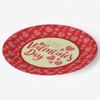 Valentine's Day Paper Plates Red and Pink Hearts