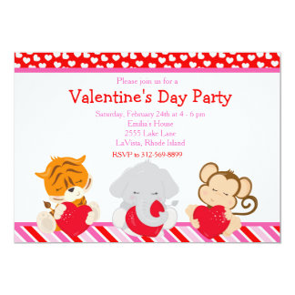 Valentine's Day Party Animals Card