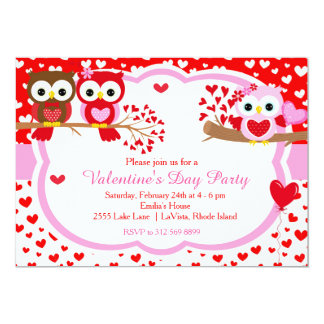 Valentines Day Party Cute Valentine Owls Card