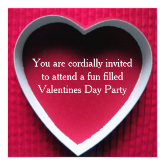 Valentines Day Party Invitation Red Heart Design