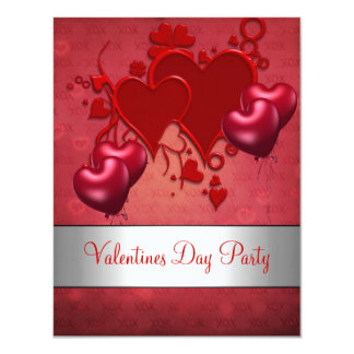 "Valentines Day Party Red Love Heart Balloons 4.25"" X 5.5"" Invitation Card"