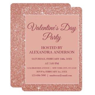 Valentine's Day Party Rose Gold Sparkle & Glitter Card