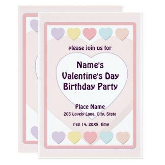 Valentine's Day Pastel Birthday Party N Card