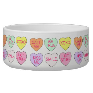 Valentine's Day Pastel Candy Heart Hearts Dog Bowl