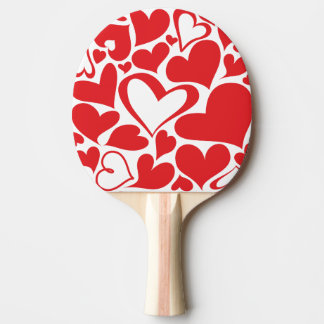 Valentine's Day pattern with red hearts Ping Pong Paddle