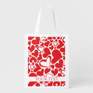 Valentine's Day pattern with red hearts Reusable Grocery Bag