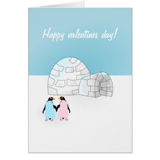 Valentines day Penguin card
