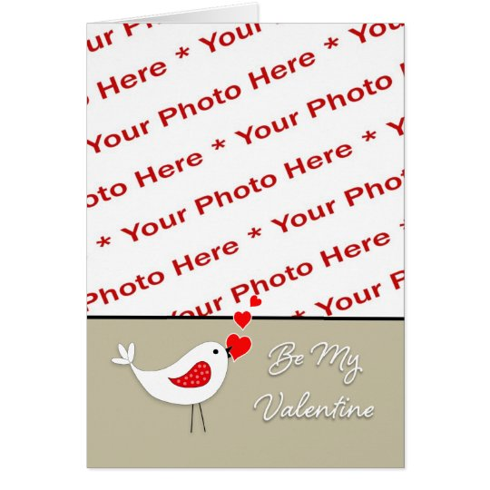 Valentine's Day Photo Card-Cute Bird with Hearts Greeting Card