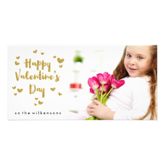 Valentine's Day Photo Glittery Gold Sparkle Hearts Photo Cards