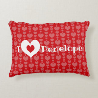 Valentines Day Pillow Rows of Hearts I Heart Name