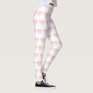 Valentine's Day Pink Embroidered HEART Legging