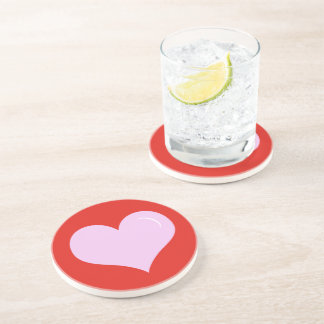 Valentine's Day Pink Heart Coaster