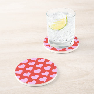 Valentine's Day Pink Hearts Coaster