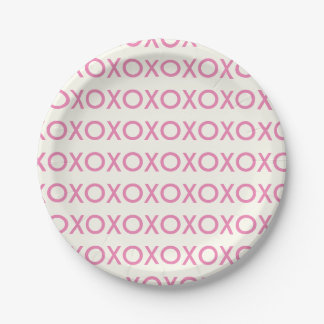 VALENTINE'S DAY PINK HUGS AND KISSES  PAPER PLATE