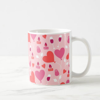 Valentine's Day Pink Red Heart Balloons Pattern Coffee Mug