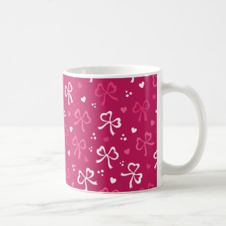 Valentine's Day Pink Red Ribbons Hearts Pattern Coffee Mug