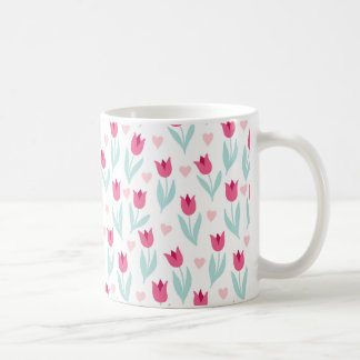 Valentine's Day Pink Red Tulips Flowers Hearts Coffee Mug