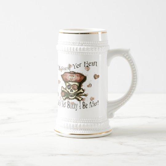 Valentine's Day Pirate Sepia Beer Mug