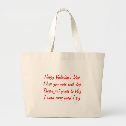 Valentine's day poem tote bags