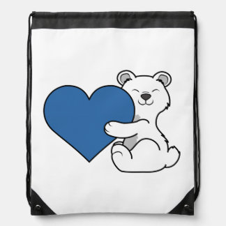 Valentine's Day Polar Bear with Blue Heart Drawstring Backpack