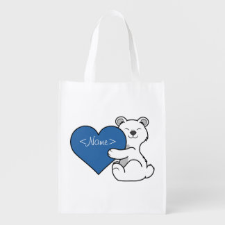 Valentine's Day Polar Bear with Blue Heart Grocery Bags