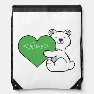 Valentine's Day Polar Bear with Green Heart Drawstring Backpack