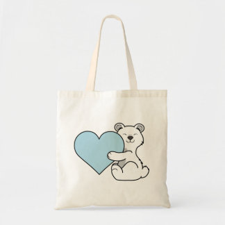 Valentine's Day Polar Bear with Light Blue Heart Budget Tote Bag