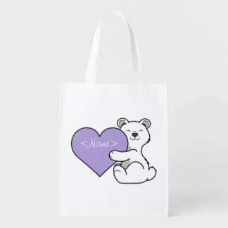 Valentine's Day Polar Bear with Light Purple Heart Reusable Grocery Bags