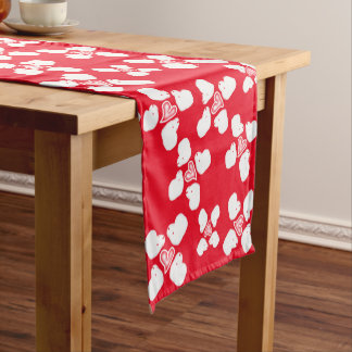 Valentine's Day red and white sheep table runner