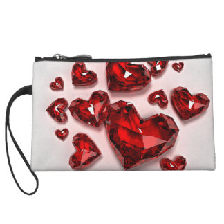 "Valentine's Day ""Red Diamond Hearts"" Wristlet Purses"