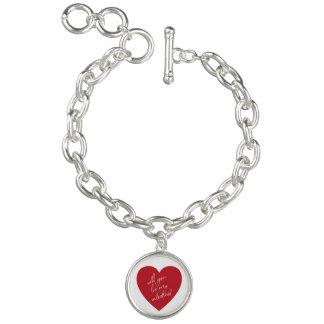 Valentine's Day red heart charm bracelet   Silver