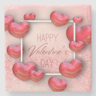 Valentine's Day Red Hearts Glitter Stone Coaster